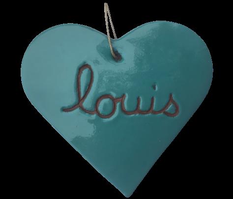 Coeur graves de couleurs bleu vert